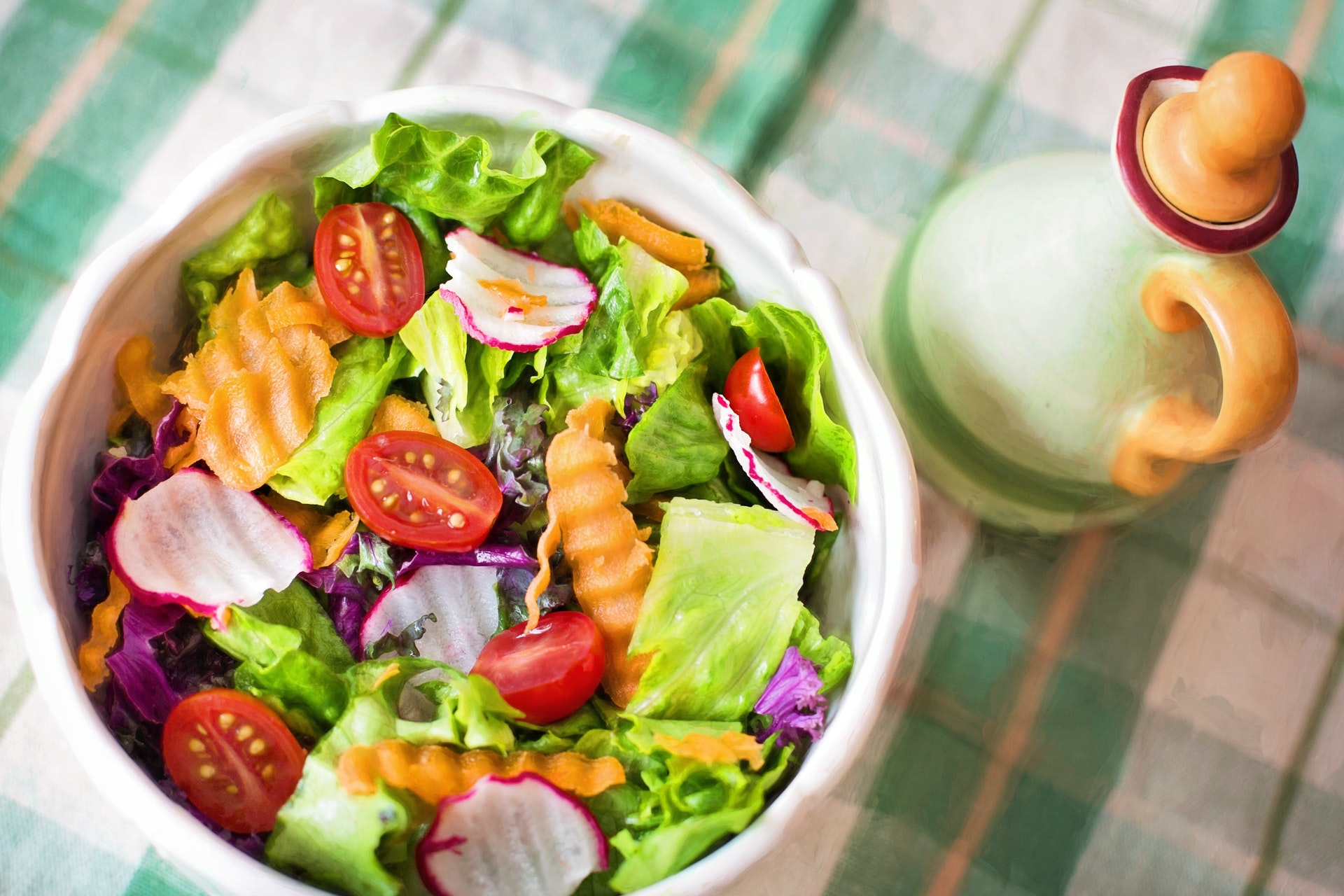 Zoutarme salade met linzen en wortel